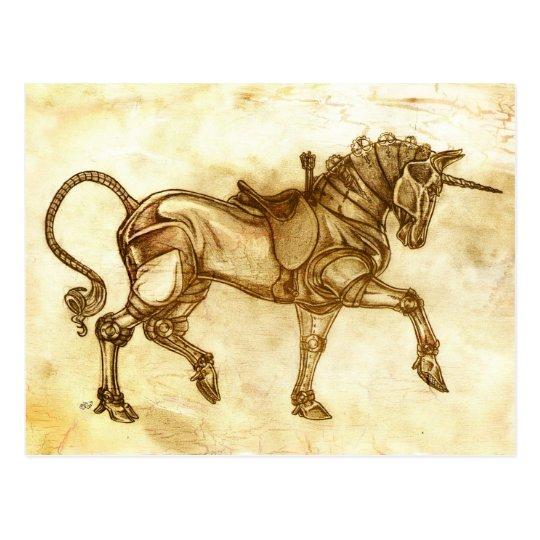 Steampunk Unicorn Sketch Post Card