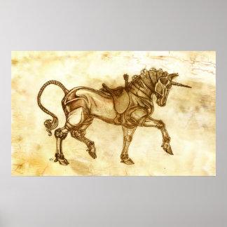 Steampunk Unicorn Sketch Poster