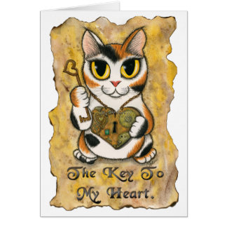 Steampunk Valentine Cat Heart Locket Key Art Card