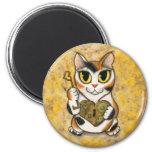 Steampunk Valentine Cat Heart Locket Key Magnet