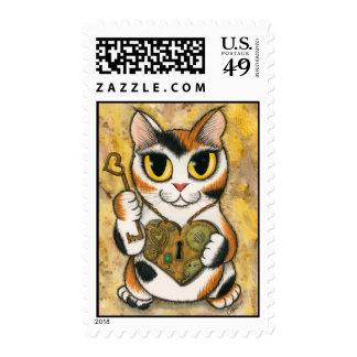 Steampunk Valentine Cat Heart Locket Key Postage