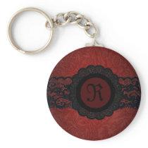 Steampunk Vampire Red Lace Gothic monogram Keychain
