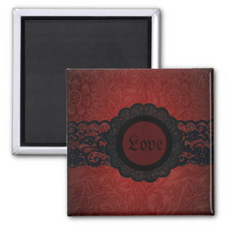 Steampunk Vampire Red Lace Gothic monogram Magnet