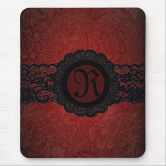 Steampunk Vampire Red Lace Gothic monogram Mouse Pad