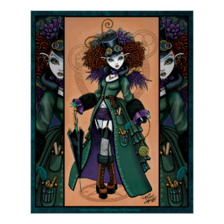Steampunk Vampire Time Traveler Temple Poster