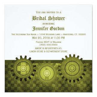 """Steampunk verde adapta la ducha nupcial invita invitación 5.25"""" x 5.25"""""""