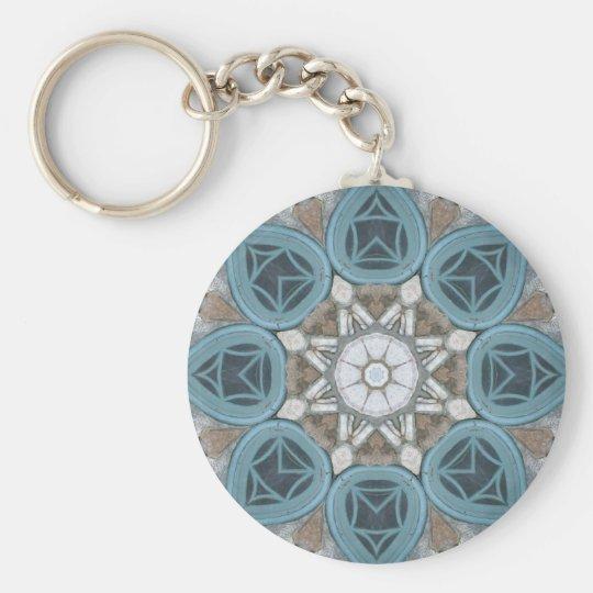 Steampunk Verdigris Window Mandala Keychain