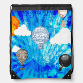 STEAMPUNK VICTORIAN BALLOONS ON BLUE SKY BACKPACK