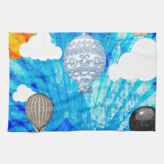 STEAMPUNK VICTORIAN BALLOONS ON BLUE SKY KITCHEN TOWELS