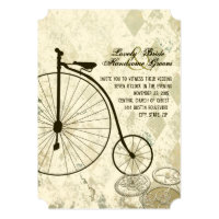 Steampunk Victorian Bicycle Wedding Invitation