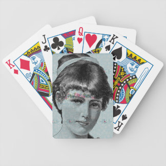Steampunk Victorian Blue Face Girl Pink Flowers Bicycle Playing Cards