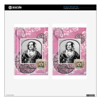 Steampunk Victorian Dog Woman Lady Gears Kindle Fire Decals