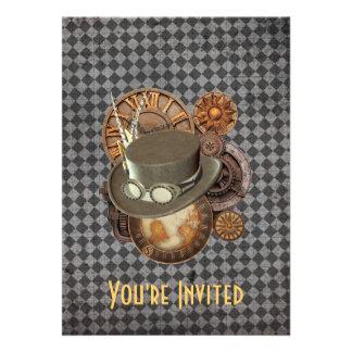 Steampunk Victorian Hats & Gears Invitation