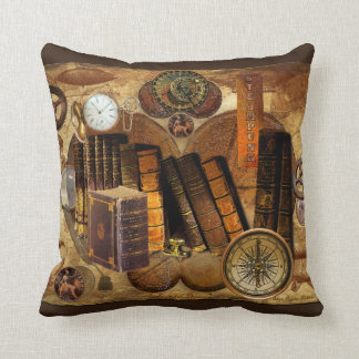 Steampunk Victorian Old Map Collage Throw Pillow
