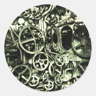 Steampunk: Victorian Timeship Engine Classic Round Sticker