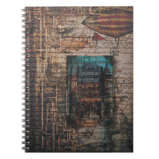 Steampunk Victorian Tower Archway with Airship Notebook