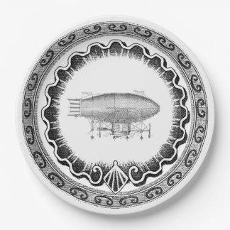 Steampunk Vintage Airship Paper Plate