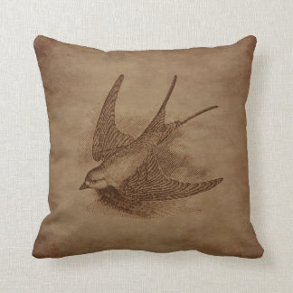 Steampunk Vintage Bird Throw Pillow