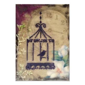 Steampunk vintage birdcage Wedding Invitation