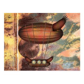 Steampunk Vintage Bronze Airship Postcard