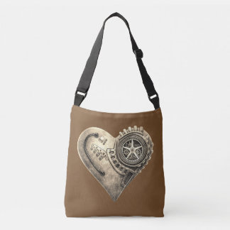 Steampunk Vintage Clockwork Heart in Sepia Crossbody Bag