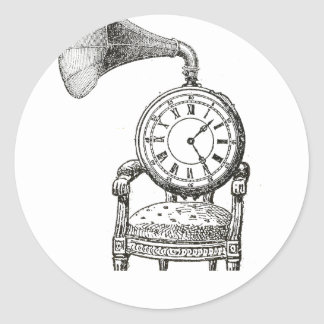 Steampunk vintage collage chair, clock, phonograph classic round sticker