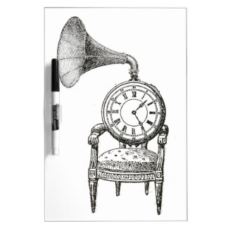 Steampunk vintage collage chair, clock, phonograph Dry-Erase whiteboards