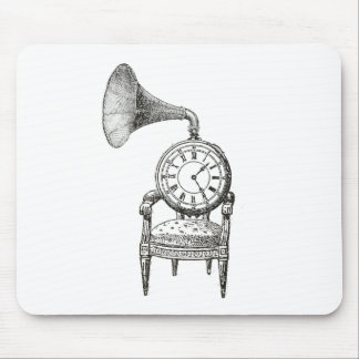 Steampunk vintage collage chair, clock, phonograph mouse pad