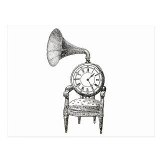 Steampunk vintage collage chair, clock, phonograph postcard