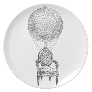 Steampunk vintage collage chair & hot-air balloon plate