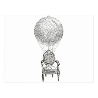 Steampunk vintage collage chair & hot-air balloon postcard