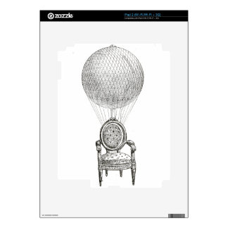 Steampunk vintage collage chair & hot-air balloon decals for iPad 2