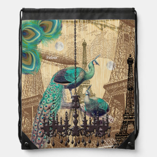Steampunk Vintage Eiffel Tower Peacock Collage Drawstring Backpack
