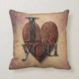 """Steampunk Vintage Heart """"I Love You"""" Valentines Pillow"""