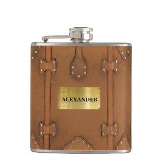 Steampunk-Vintage Leather Case Flasks