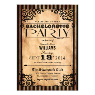 Steampunk Vintage Look Bachelorette Party Invitations