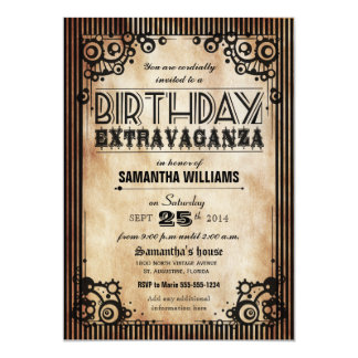Steampunk Vintage Look Birthday Extravaganza 5x7 Paper Invitation Card