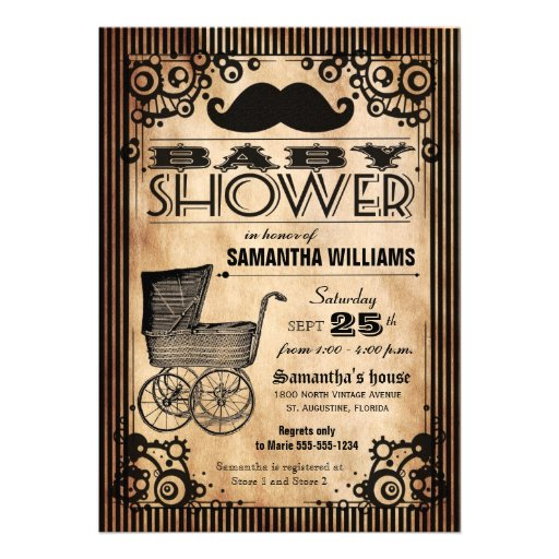 Steampunk Vintage Look Boy Baby Shower Custom Invitations