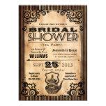 Steampunk Vintage Look Bridal Shower Tea Party 5x7 Paper Invitation Card
