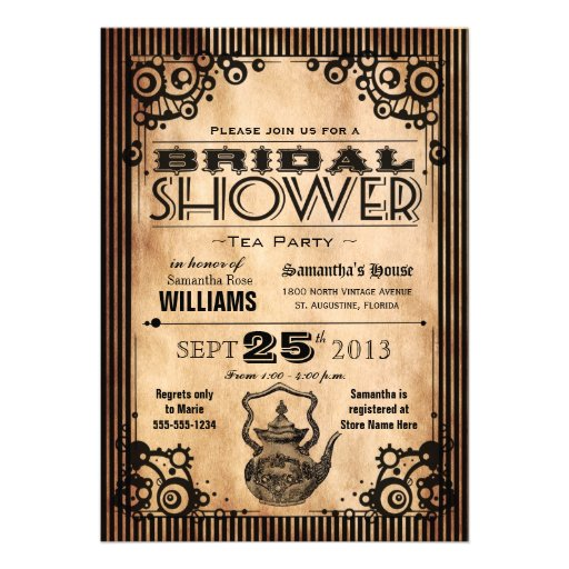 Steampunk Vintage Look Bridal Shower Tea Party Personalized Invitations
