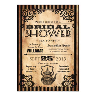 Steampunk Vintage Look Bridal Shower Tea Party Invitation