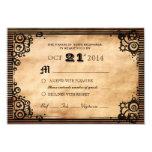 Steampunk Vintage Look Custom RSVP 3.5x5 Paper Invitation Card