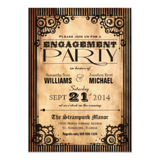 Steampunk Vintage Look Engagement Party 5x7 Paper Invitation Card
