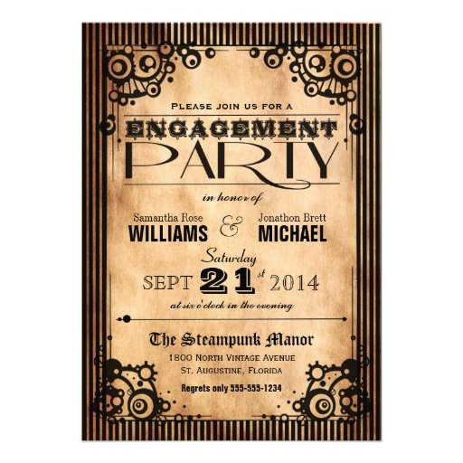 Steampunk Vintage Look Engagement Party Personalized Announcements