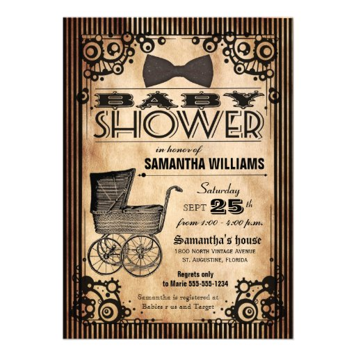 Steampunk Vintage Look Girl Baby Shower Custom Announcement
