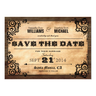 Steampunk Vintage Look Save The Date Card
