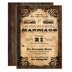 Steampunk Vintage Look Wedding Invitation