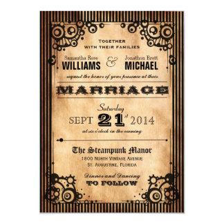 Charming Steampunk Vintage Look Wedding Invitation
