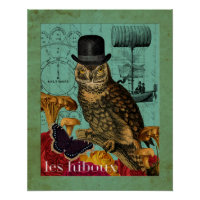 Steampunk Vintage Male Owl Collage Art Print