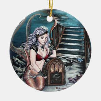 steampunk vintage mermaid where you left me ceramic ornament